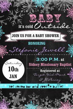 19 Ideas baby shower themes for gils color schemes babyshower Baby Shower Winter, Baby Shower Fun, Baby Winter, Baby Shower Favors, Baby Shower Parties, Baby Shower Themes, Baby Boy Shower, Baby Shower Invitations, Invites