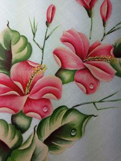 Hibiscus pittura su lino Fabric Painting On Clothes, Painted Clothes, Acrylic Painting Flowers, Acrylic Art, Fabric Paint Designs, Beautiful Nature Wallpaper, Arte Floral, Flower Pictures, Cute Art