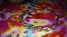 Wire wrap braided bracelet with glass beads