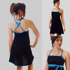 """Robe nuisette pour femme """"Lola"""", noire et courte, sexy, Valentine day, St Valentin, imprimés cœurs bleu, glamour, woman, dress, black de la boutique AllByK sur Etsy"""