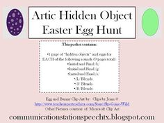 FREEBIE Friday: Artic Hidden Objects Easter Egg Hunt! for sounds /k, g, s/ and /s, l, r/ blends