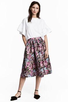Jacquard-weave skirt - Black/Floral - Ladies | H&M GB 1