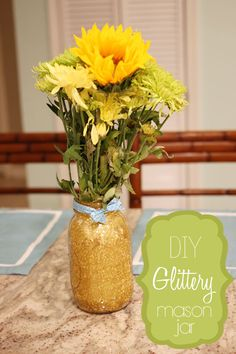 DIY Glitter Mason Jars - A cute, easy way to add color to a room! Great DIY project for kids & adults! #homecrafts #decorating #decoratingcrafts