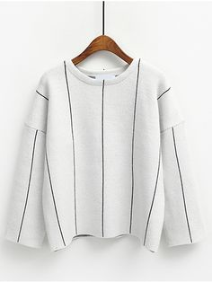 Comfort | White Crew Neck Vertical Stripe Loose Knitwear | SheIn.com #WITCHERYSTYLE