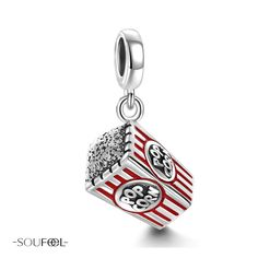 Popcorn Pendant Charm 925 Sterling Silver. It reminds me of the night movies with family or friends.