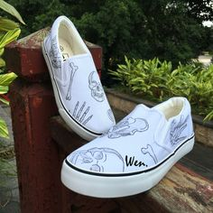 reputable site 2f41d f3d23 US  47.2 20% OFF Aliexpress.com   Buy Wen Original Hand Painted Design Shoes  Human Skeleton Skull Hand Bones Slip On Custom White Women And Men Canvas  ...
