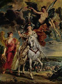 Cycle de Marie de Médicis, La Prise de Juliers, Rubens - Dite autrefois Le Voyage de Marie de Médicis au Pont-de-Cé, illustre la seule bataille à laquelle participa Marie de Médicis durant sa régence, au terme de laquelle la ville de Juliers en Allemagne est rendue aux princes allemands protestants le 1° sept 1610. Cette ville était un point de passage pour traverser la Ruhr, elle était d'une importance stratégique pour la France.