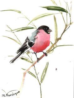 Bullfinch, original watercolor painting, 12 X 9 in, bird lover ar… http://etsy.me/1J19oa1 #Watercolor #BullfinchArt