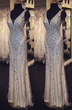 Sparkly Evening Dresses Evening Wear V Neck Floor Length Beaded Crystal High Fashion Elegant New Party Pageant Dress Prom Gown Formal Gowns Shop Dresses White Evening Gowns From Yoyobridal, $142.41| Dhgate.Com