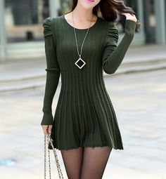 Puff Sleeves Scoop Neck Cable Knit Vertical Stripes Plicated Pleated Ladylike Women's Knitting DressSweater Dresses | RoseGal.com