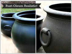 How I took a fake plastic cauldron and turned it into one that looks totally real! How great does this look?  I honestly think it looks so much better than I th…