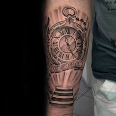 Pocket Watch With Stairs To Heaven Mens Inner Forearm Tattoos