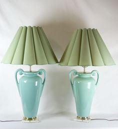 Pair of Large Aqua Ceramic Ginger Jar Lamps on Lucite Base from Mid Century Modern Era by OffCenterModern on Etsy
