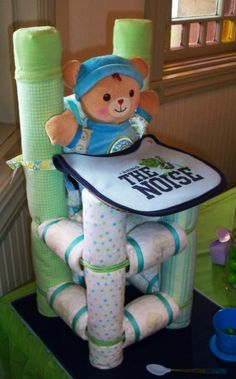Items similar to Diaper High Chair - Custom Diaper Cake - Baby Shower Gift on Etsy Baby Shower Diapers, Baby Shower Favors, Baby Shower Cakes, Baby Shower Parties, Baby Shower Themes, Baby Boy Shower, Baby Shower Gifts, Baby Gifts, Shower Ideas