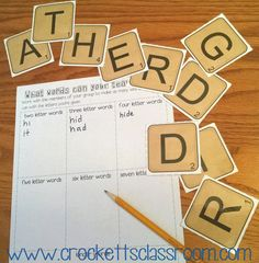 First Day Word Building Freebie, Students work in small groups to see how many words they can make.  They don't know that the words spell the name of their grade!