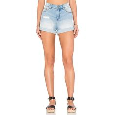 Cheap Monday Donna Short ($55) ❤ liked on Polyvore featuring shorts, jean shorts, frayed denim shorts, distressed shorts, ripped shorts and destroyed jean shorts