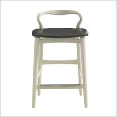 CRESTAIRE-HOOPER COUNTER STOOL: Curvaceously mid-century, the Hopper stool is comfortable and classic. Finish: Cadiz /Leather Seat: Slate /Metal scuff plate