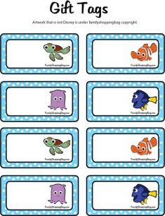 Gift Tags, Finding Nemo, Gift Tags - Free Printable