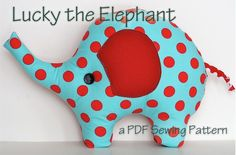 Elephant Pillow Plush Sewing Pattern Lucky the Elephant por ginia18