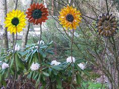 Fused glass sunflowers
