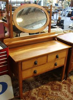 Lot 3 - Australian Kauri Pine ARTS & CRAFTS Dressing Table - Unusual Oval shaped Mirror on slender supports, Lion Head Handles, etc