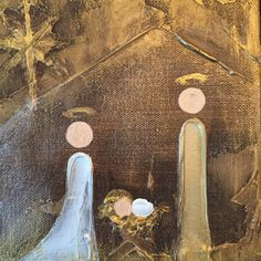 """Artist: Lori Mitchell Dimensions: 5""""x5"""" or 6""""x6"""" Custom Figure, Joseph, Mary, and Baby Jesus Medium: Acrylic Surface: Canvas This piece is custom made by Lori Mitchell so please allow 2-3 weeks to shi"""