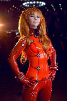 Anime: Evangelion Neon Genesis. Character: Asuka Langley Soryu. Version: EVA Test Plugsuit. Cosplayer: Tis. Latex: Andromeda Latex. Photo: Pvt Waffles - Veniamin Kazakov. Event: Hinode 2015.
