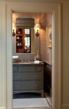"""6 Serene Green Paints That Don't Say Green   Nantucket Gray   bathroom and architecture by Catalano Architects. Benjamin Moore Nantucket Gray hc-111 is another """"gray"""" that reads as a warm, rich, historical looking green"""