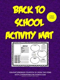This is a fun little back to school activity mat that I created for my kiddoes. To use, print both sheets for each students and tape or glue them t...