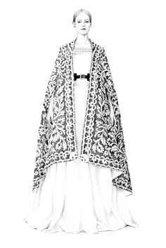 Fashion illustration - amazingly detailed pencil drawing of Alexander McQueen pre-fall 2013 outfit // T.S. Abe