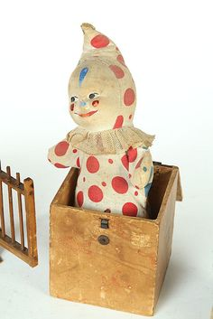 "Probably Germany, late 19th-early 20th century. Jack-in-the-box with clown with squeak, 11""h"