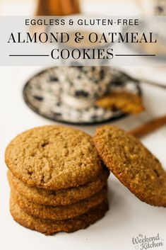 This almond and oatmeal cookies recipe is eggless and gluten free and vegan-friendly. With just 7 ingredients and 30 mins tops, these deliciously soft cookies are perfect as a coffee companion or a bite in between meals! Basic Cookie Recipe, Eggless Cookie Recipes, Eggless Baking, Almond Flour Recipes, Healthy Cookie Recipes, Oatmeal Cookie Recipes, Oatmeal Chocolate Chip Cookies, Eggless Biscotti Recipe, Eggless Desserts