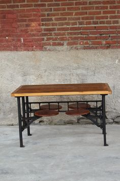 We found one of these Cafeteria Tables in the former Philadelphia Tasty Cake lunchroom and were inspired to make them ourselves. Iron frame with oak top. Industrial Design Furniture, Vintage Industrial Furniture, Rustic Furniture, Industrial Style, Recycled Furniture, Cheap Furniture, Kids Furniture, Table Vintage, Vintage Home Decor