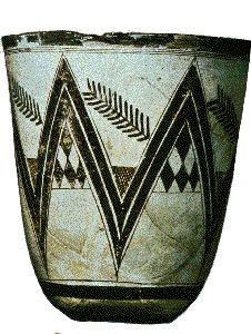 A decorated beaker from the prehistoric site at Susa, Western Iran. Made about 4000 BC. The walls are extremely thin and painted designs delicate and refined. There can be little doubt that the complex patterns have an ancient prehistoric symbolism, but it's full meaning is lost to us today. [Obviously the geometric patterns of the Firmament]