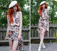 White Vintage Boots With Flowers, Asymmetric Flower Dress, Crystal Necklace, White Beret