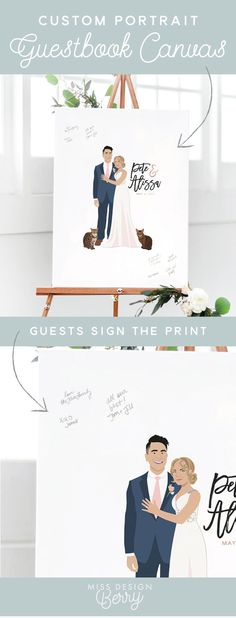 Custom wedding portrait guest book canvases are a unique guest book alternative and feature an amazing portrait of the couple! You send them photos of the couple, pets, and outfits you plan to wear on your wedding day, and they use their magic to create a stunning portrait!