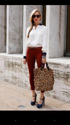 Trending: high water leggings tucked blouses