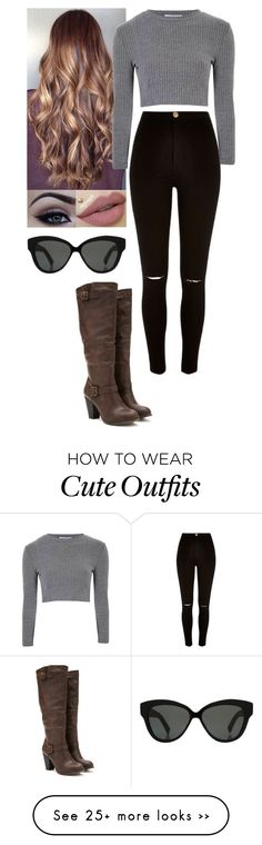 """Cute outfit #26"" by directioner66234 on Polyvore featuring River Island, Glamorous, Forever 21 and Linda Farrow"