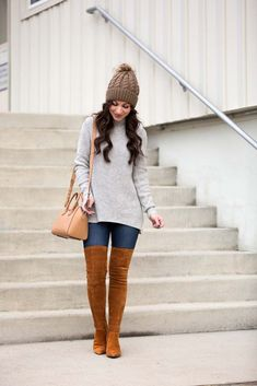 grey tunic sweater suede over the knee boots pom beanie