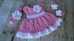 Pink Crochet Baby Set Infant Baby Dress Handmade Baby Girl