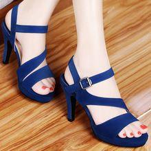 Sandalias de la marca mujeres nuevo 2016 verano sexy plataforma punta abierta gruesos zapatos de tacón alto negro azul marino mujeres de la alta calidad(China (Mainland))