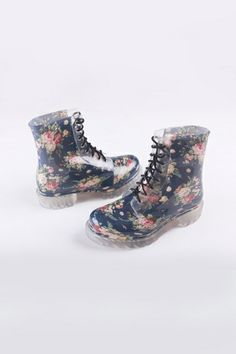 REGISTER ON PERSNMALL.COM Flowers Print Lace-up Rain Boot