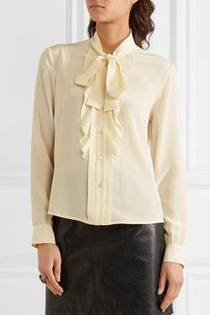 REDValentino - Pussy-bow Ruffled Silk Crepe De Chine Blouse - Cream - IT44