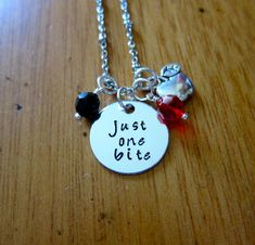 "Snow White Inspired Necklace. Poison Apple. Evil Queen Villain. ""Just One Bite"". Snow White. Silver colored. Swarovski crystal. Halloween."