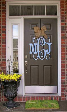 Custom MONOGRAM door hanger / BURLAP bow/ House warming gift/Block and Script/ 24 inch/ chevron/Initial/wooden/wedding gift/front door decor on Etsy, $65.00