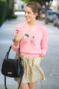 9.12 pink cat (Opening Ceremony sweatshirt + F21 collar + Paul & Joe Sister skirt + DVF booties + Rebecca Minkoff bag + Michael Kors watch)