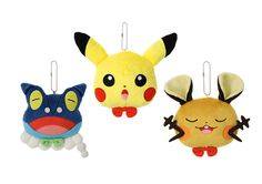 Musical singing Pikachu, Frogadier and Dedenne plush key chains.