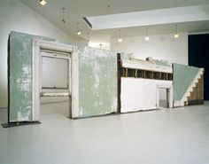 "Bingo  Gordon Matta-Clark (American, 1943-1977)    1974. Building fragments: painted wood, metal, plaster, and glass, three sections, Overall 69"" x 25' 7"" x 10"" (175.3 x 779.8 x 25.4 cm). Nina and Gordon Bunshaft Bequest Fund, Nelson A. Rockefeller Bequest Fund, and the Enid A. Haupt Fund. © 2011 Estate of Gordon Matta-Clark / Artists Rights Society (ARS), New York"