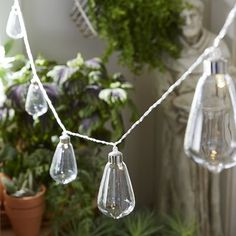 """Battery-powered LED glass lights for patio.  color: Clear     39.37""""L     Glass, electrical components     LED - continuous light     Batteries not included     For indoor/outdoor use"""