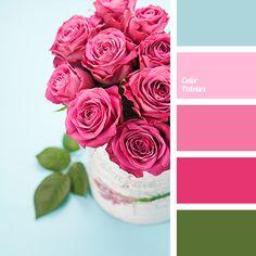 Blue Color Palettes, color matching, color palette for interior, contrasting blue, crimson, green, green leaves, hot pink, pale pink, pink rose, pink shades, rose color.